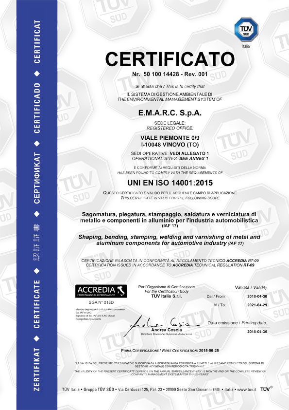 Emarc Group: ISO-14001-2004-TUV1 certificate