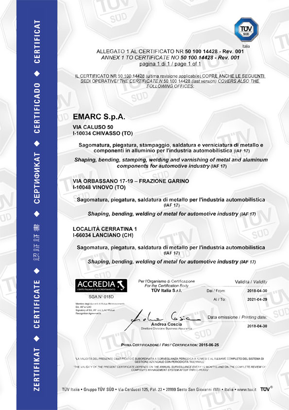 Emarc Group: ISO-14001-2004-TUV2 certificate