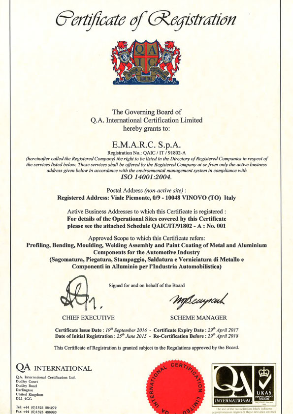 Emarc Group: ISO-14001-2004 certificate