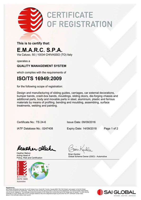 Emarc Group: ISO-TS-16949-1 certificate