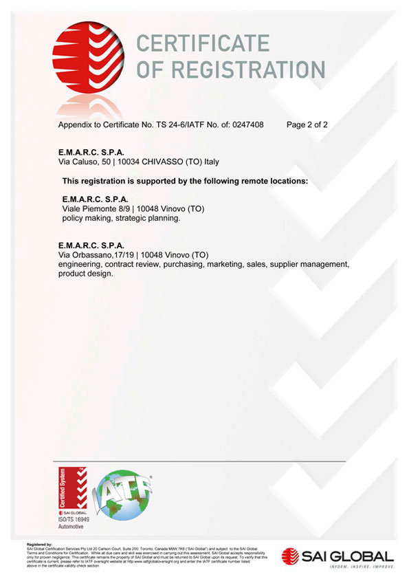 Emarc Group: ISO-TS-16949-2 certificate